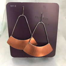Load image into Gallery viewer, Etched Copper Large Fan Recycled Tin Earrings Tin Anniversary Gift