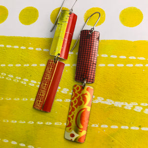 Mixed Red & Gold Patterns Rectangles Tin Earrings