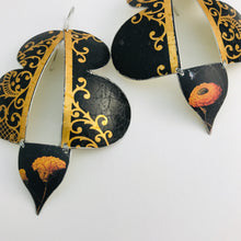 Load image into Gallery viewer, Black & Copper Filigree Abstract Butterflies Upcycled Tin Earrings