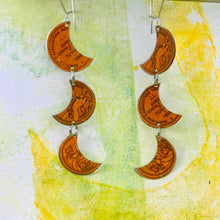 Load image into Gallery viewer, Biscotti Coin Crescents Upcycled Tin Earrings