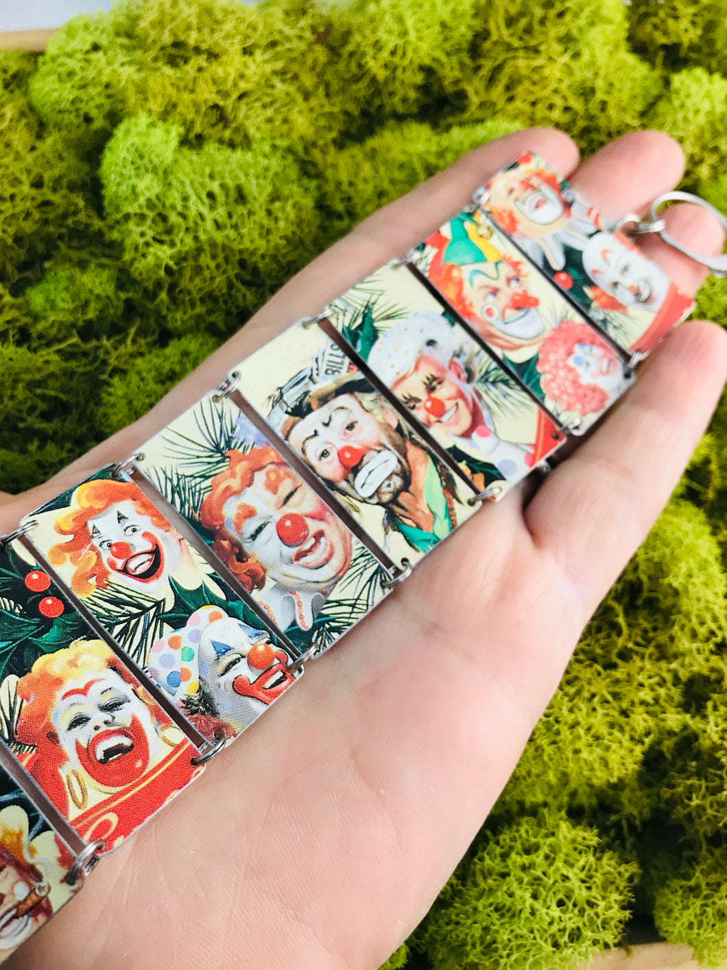 Crazy Clowns Upcycled Tin Bracelet