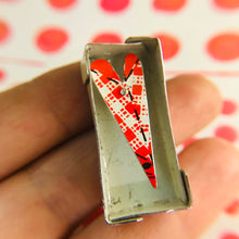 Load image into Gallery viewer, Boxed Red Heart Upcycled Tin Brooch