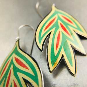 Vintage Stylized Leaves Upcycled Tin Earrings