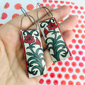 Red Lillies Rectangles Recycled Tin Earrings