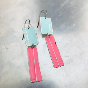 Rustic Matte Light Aqua & Bubblegum Zero Waste Tin Earrings