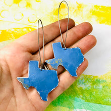 Load image into Gallery viewer, Cornflower Blue Upcycled Tin Texas Earrings