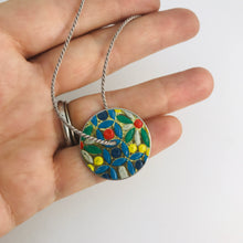 Load image into Gallery viewer, Vintage Flower Mosaic & Purple Circle Upcycled Tin Flip-Flop Necklace