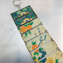 Load image into Gallery viewer, Vintage Orange Flowers Upcycled Tin Bracelet