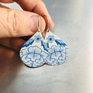 Blue Blossoms on White Upcycled Teardrop Tin Earrings