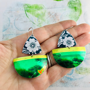 Shimmery Green Sailboats Upcycled Tin Earrings