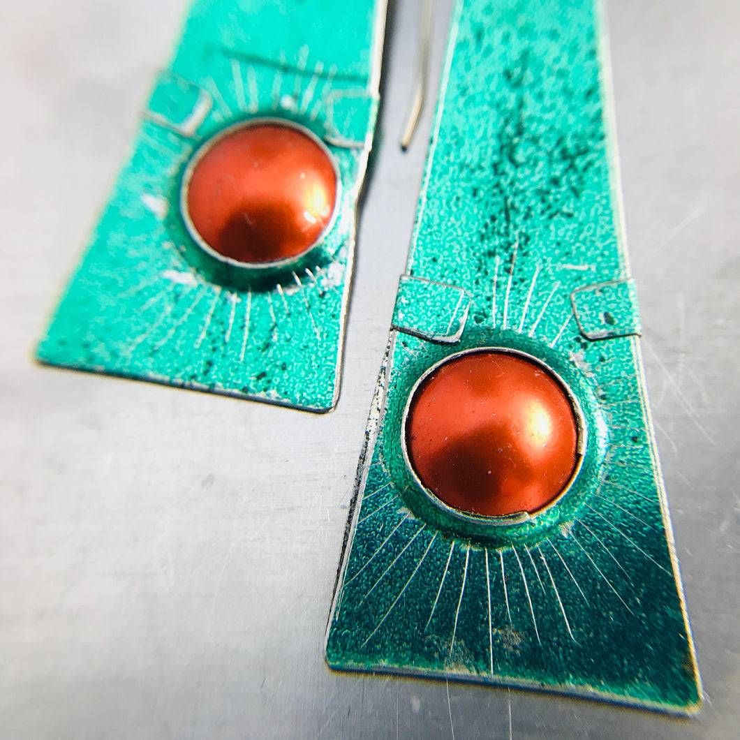 Shimmery Green & Orange Zero Waste Tin Earrings