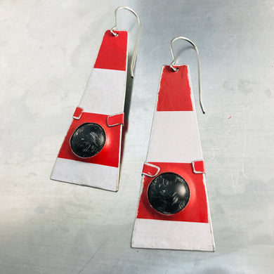 Bright Red & White Black Dome Zero Waste Tin Earrings