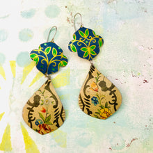 Load image into Gallery viewer, Vintage Blue Flowers Wide Cream Teardrops Zero Waste Tin Earrings