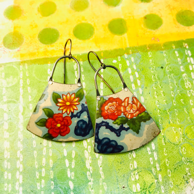 Bright Red & Orange Blossoms Small Fans Zero Waste Tin Earrings
