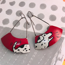 Load image into Gallery viewer, Happy Dalmatian Large Fan Dangle Earrings