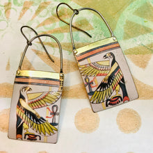 Load image into Gallery viewer, Egyptian Falcon Long Rectangular Tin Earrings