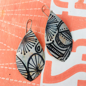 Ink Doodles Upcycled Long Pod Tin Earrings