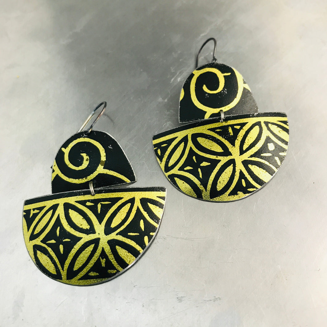 Black and Gold Boats Upcycled Tin Earrings