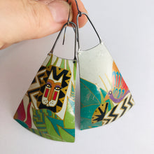 Load image into Gallery viewer, Laurel Burch Upcycled Vintage Tin Long Fans Earrings