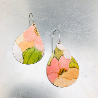 Pink Flowers Upcycled Teardrop Tin Earrings