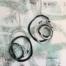 Load image into Gallery viewer, Black and White Big Scribbles Upcycled Tin Earrings