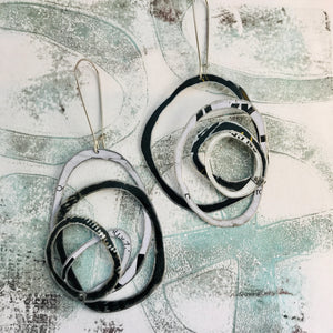 Black and White Big Scribbles Upcycled Tin Earrings