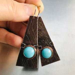 Chocolate & Aqua Domes Zero Waste Tin Earrings
