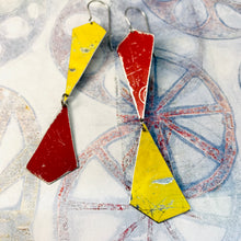 Load image into Gallery viewer, Goldfinch and Cardinal Narrow Kites Recycled Tin Earrings