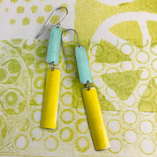 Load image into Gallery viewer, Matte Bright Yellow & Aqua Zero Waste Tin Earrings