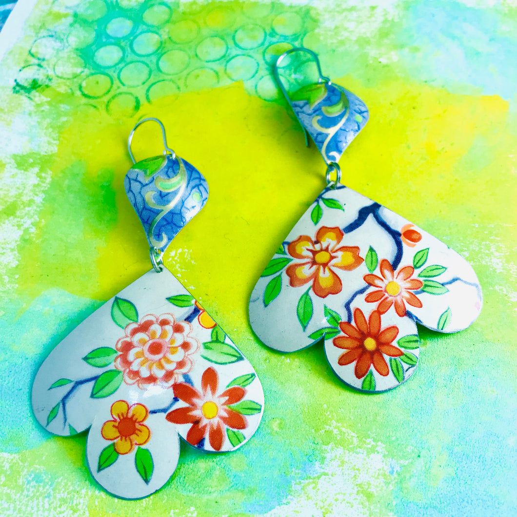 Beautiful Flowers Trefoil Upcyled Tin Earrings