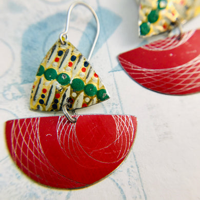 Red Spirograph and Vintage Dots Little Sailboats Tin Earrings