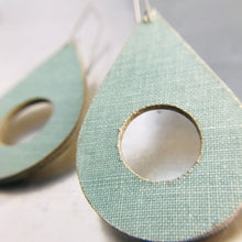 Load image into Gallery viewer, Aqua Linen Teardrops Recycled Book Cover Earrings