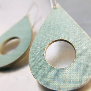Aqua Linen Teardrops Recycled Book Cover Earrings