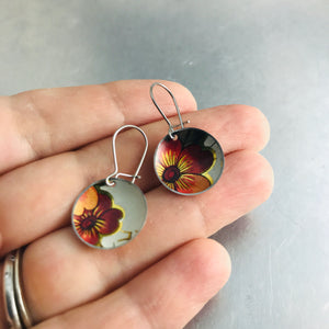 Vintage Dark Orange-y Flowers Upcycled Tiny Basin Earrings