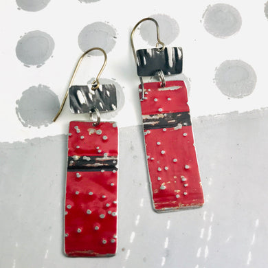 Deep Red & Midnight Recycled Tin Earrings