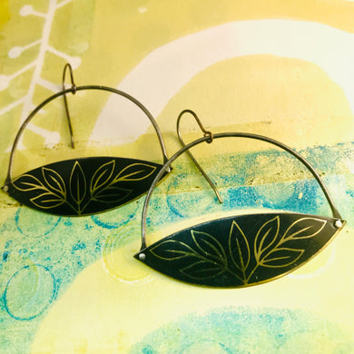 Golden Leaves on Black Wide Arc Zero Waste Earrings