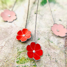 Load image into Gallery viewer, Tiny Pale Pink & Red Flowers Upcycled Tin Earrings