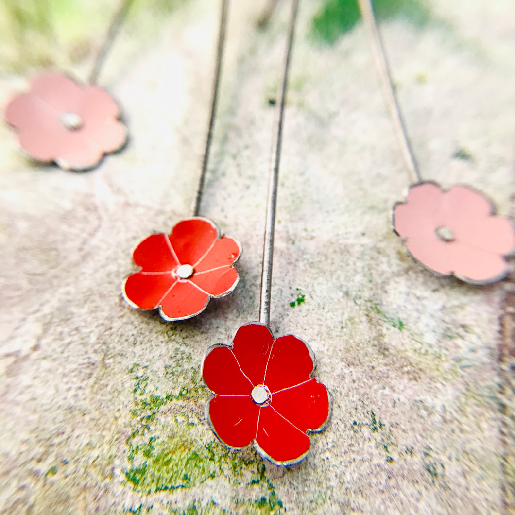 Tiny Pale Pink & Red Flowers Upcycled Tin Earrings
