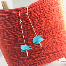 Load image into Gallery viewer, Bright Aqua Radio Waves Zero Waste Tin Earrings