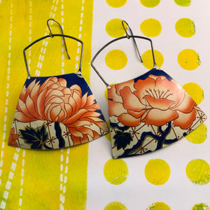 Orange Peonies Large Zero Waste Tin Earrings