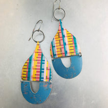 Load image into Gallery viewer, Pixels and Distressed Blue Mixed Arches Upcycled Tin Earrings