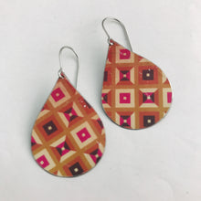 Load image into Gallery viewer, Shades of Red Geometric Pattern Upcycled Teardrop Tin Earrings