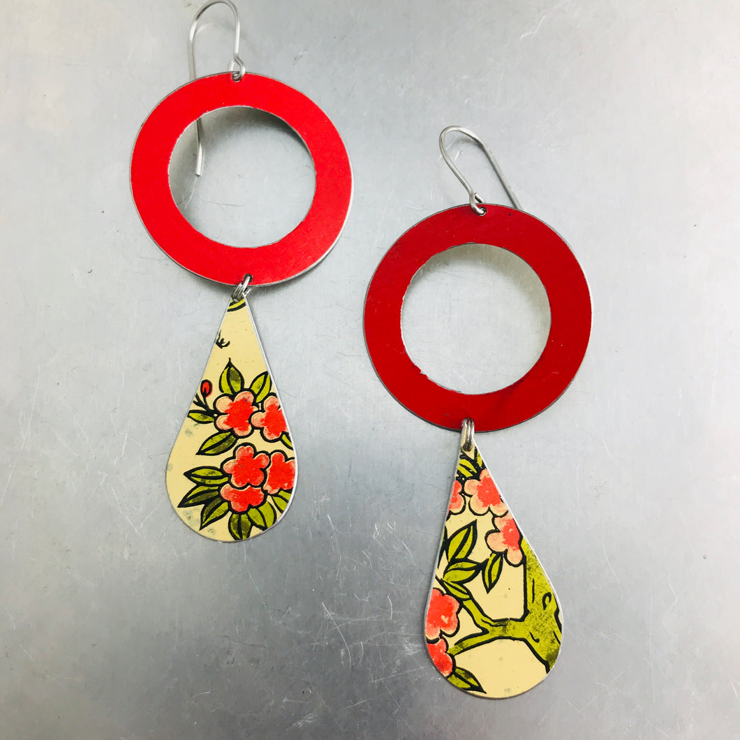Bright Red Ring & Vintage Flowery Tin Long Teardrops Earrings