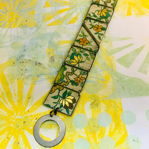 Vintage Gold & Orange Flowers Upcycled Tin Bracelet