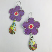 Load image into Gallery viewer, Big Purple Flowers Upcycled Vintage Tin Long Fans Earrings