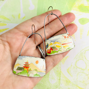Japanese Landscapes Rounded Rectangles Zero Waste Tin Earrings