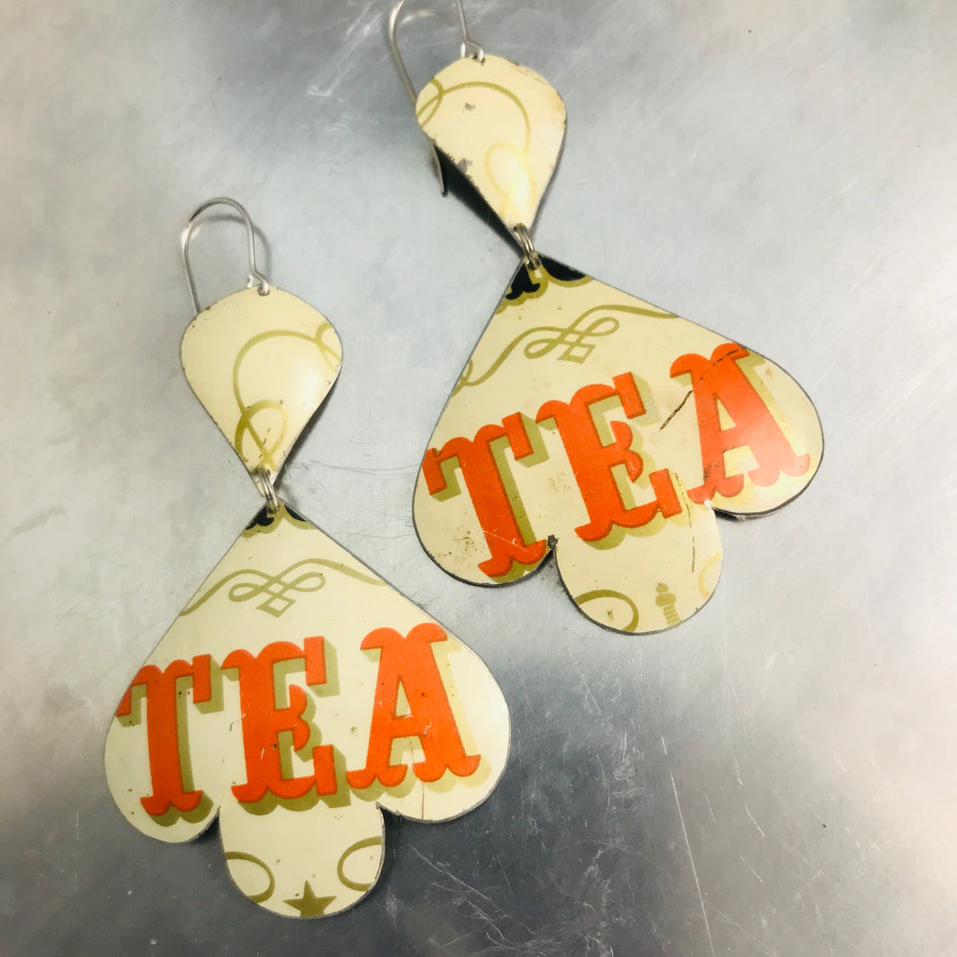 Orange Tea Typography Trefoil Upcyled Tin Earrings