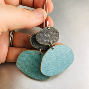 Book Pebbles Charcoal & Aqua Recycled Book Cover Earrings