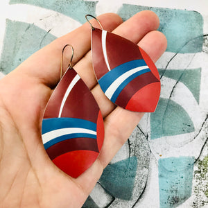 Mixed Red White and Blue Upcycled Long Pod Tin Earrings