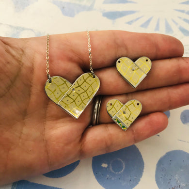 RESERVED 3 Golden Checkerboard Tin Heart Recycled Necklaces